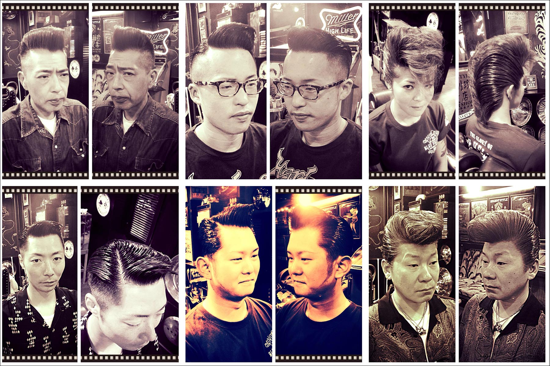 B&W portraits of Japanese customers in perfectly groomed 1950s rockabilly pompadours from Blue Velvet's barber shop. Ponyboy magazine New York.