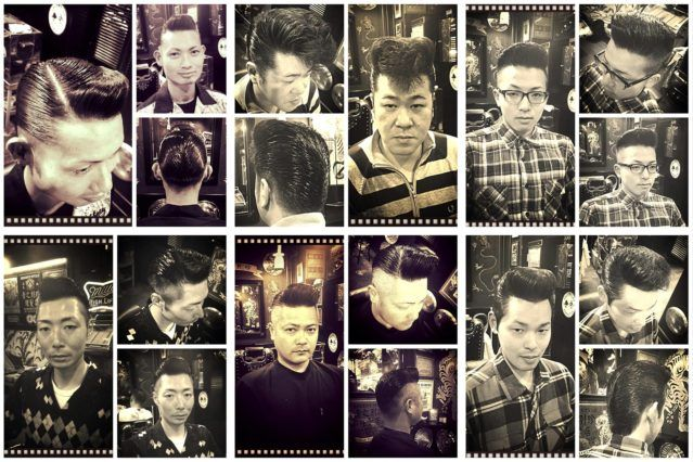 B&W portraits of Japanese men in perfectly groomed 1950s rockabilly pompadours from Blue Velvet's barber shop. Ponyboy magazine.