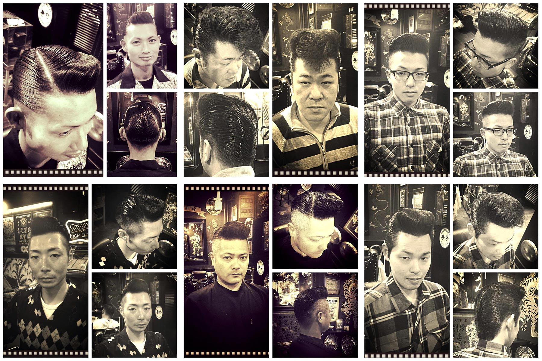 B&W portraits of Japanese men in perfectly groomed 1950s rockabilly pompadours from Blue Velvet's barber shop. Ponyboy magazine New York.