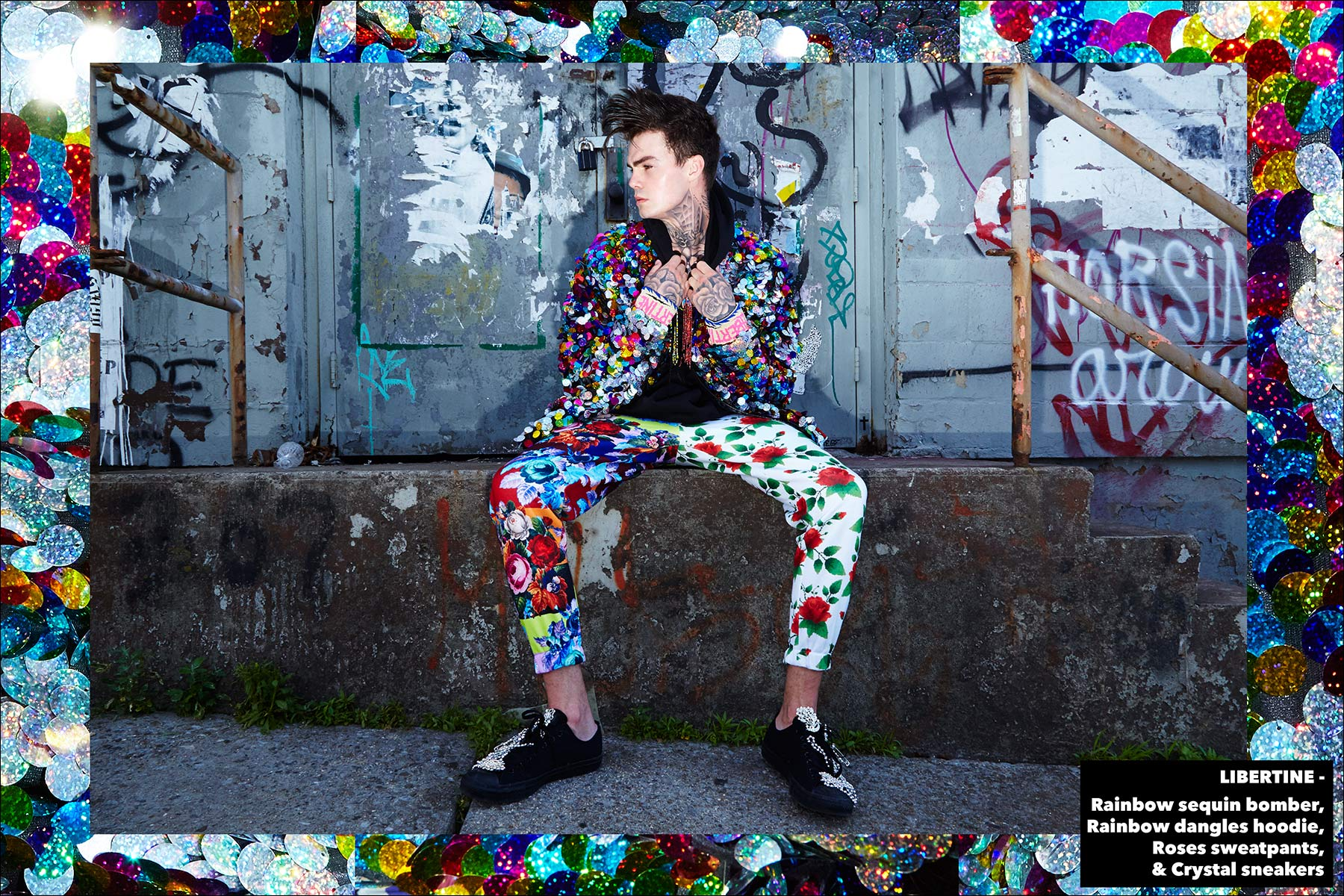 Model Jonathan Normolle, from New York Model Management, wears a Libertine Rainbow sequin bomber with Roses sweatpants. Photographed by Alexander Thompson for Ponyboy magazine New York.