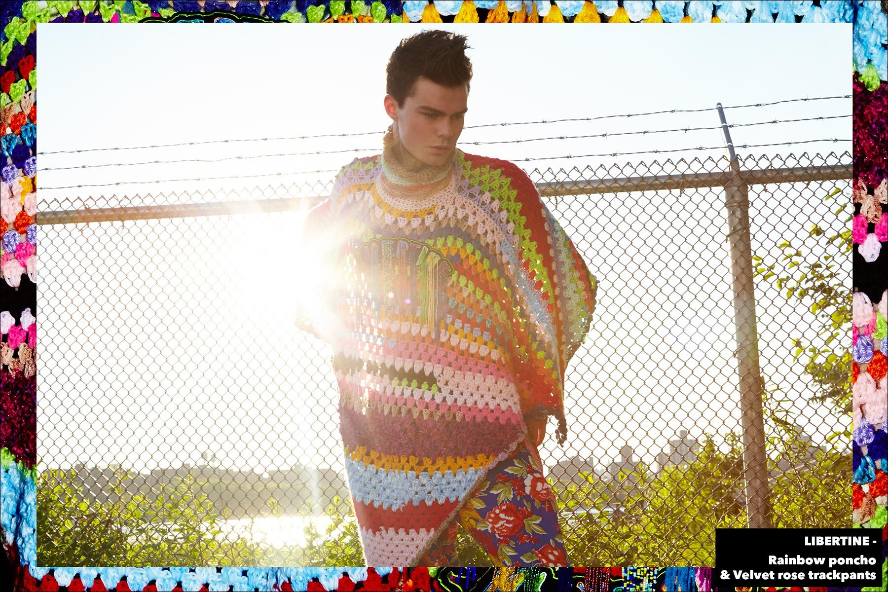 Model Jonathan Normolle, from New York Model Management, wears a Libertine Rainbow poncho. Photographed by Alexander Thompson for Ponyboy magazine New York.