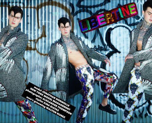 Model Jonathan Normolle wears a Libertine Dangles tweed coat, photographed by Alexander Thompson for Ponyboy magazine.