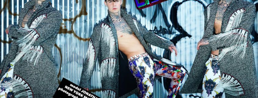 Model Jonathan Normolle wears a Libertine Dangles tweed coat, photographed by Alexander Thompson for Ponyboy magazine.