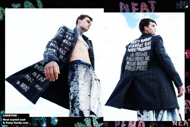 Model Jonathan Normolle, from New York Model Management, wears a Libertine Neat crystal coat, and Party Hardy coat. Photographed by Alexander Thompson for Ponyboy magazine.