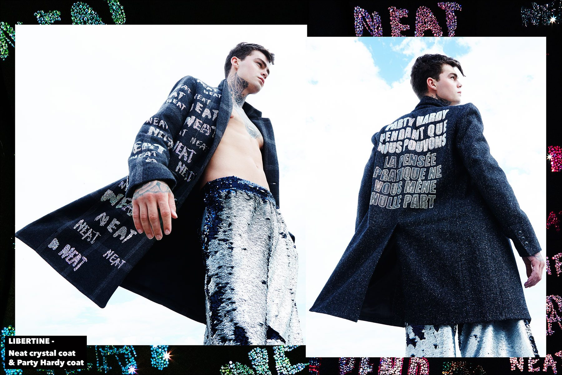 Model Jonathan Normolle, from New York Model Management, wears a Libertine Neat crystal coat, and Party Hardy coat. Photographed by Alexander Thompson for Ponyboy magazine New York.