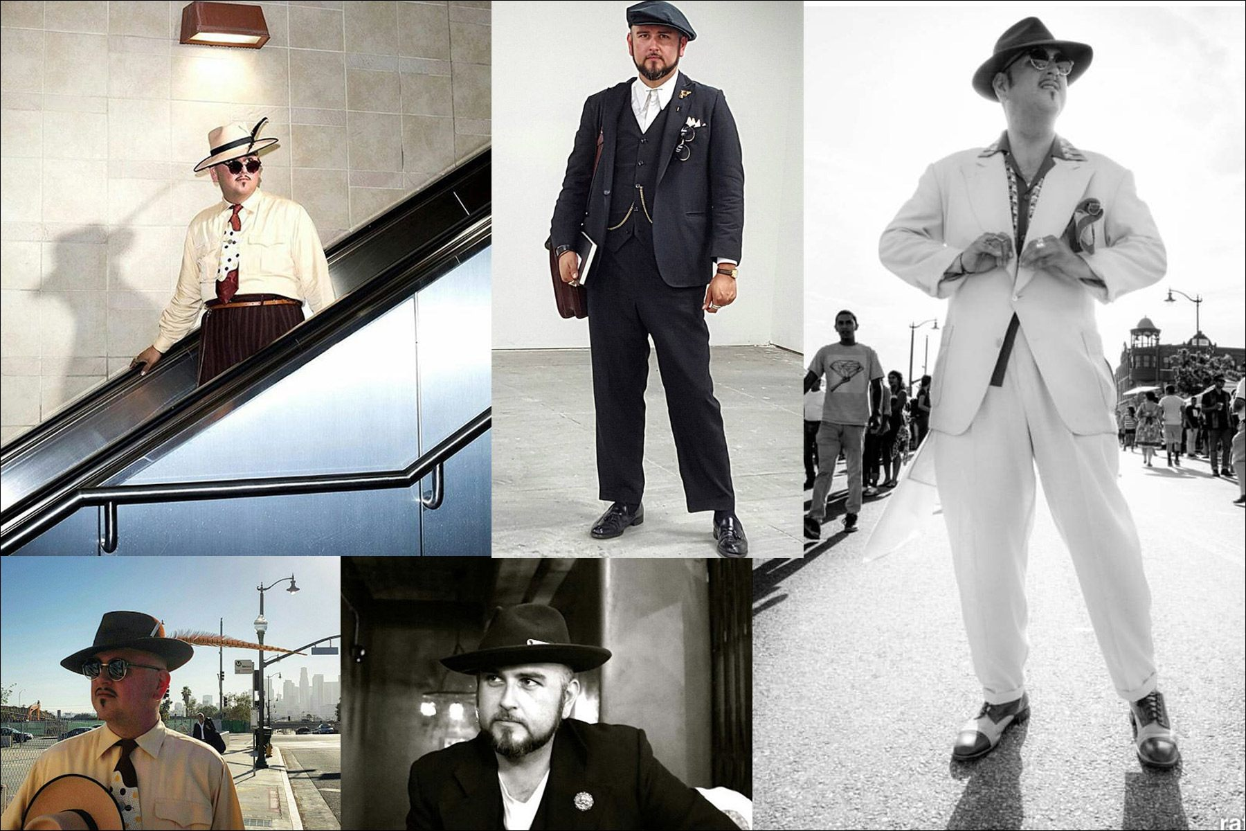 Assorted photos of Barrio Dandy, vintage menswear stylist and showroom owner J.C. De Luna. Ponyboy magazine New York.