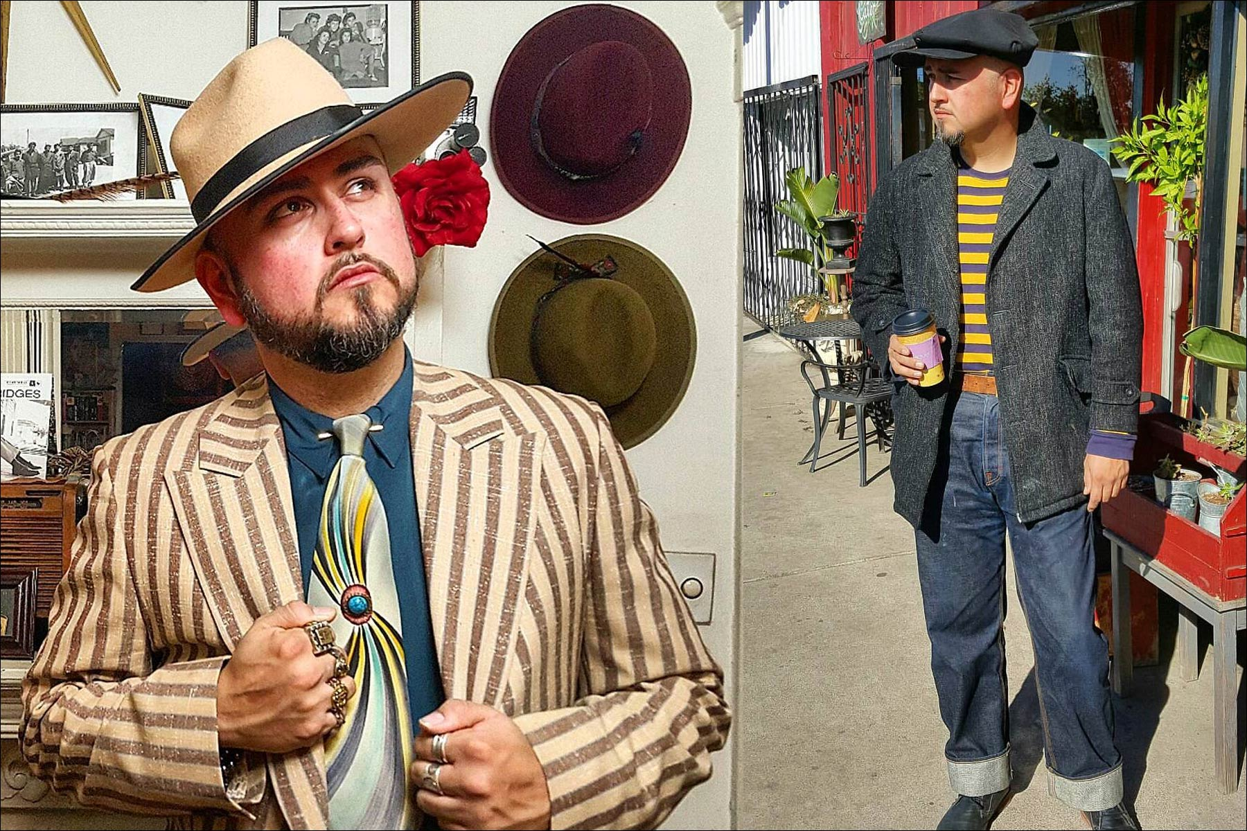 The Barrio Dandy, vintage menswear stylist and showroom owner J.C. De Luna. Ponyboy magazine New York.