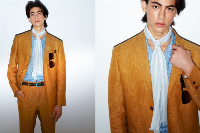 A male model snapped backstage in a David Hart Spring 2018 suit. Photography by Alexander Thompson for Ponyboy magazine.