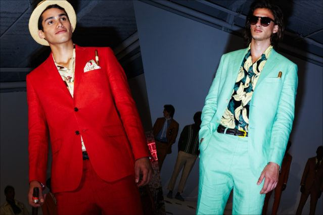 Colorful linen suits shown during New York Fashion Week Men S/S18, by designer David Hart. Photography by Alexander Thompson for Ponyboy magazine.