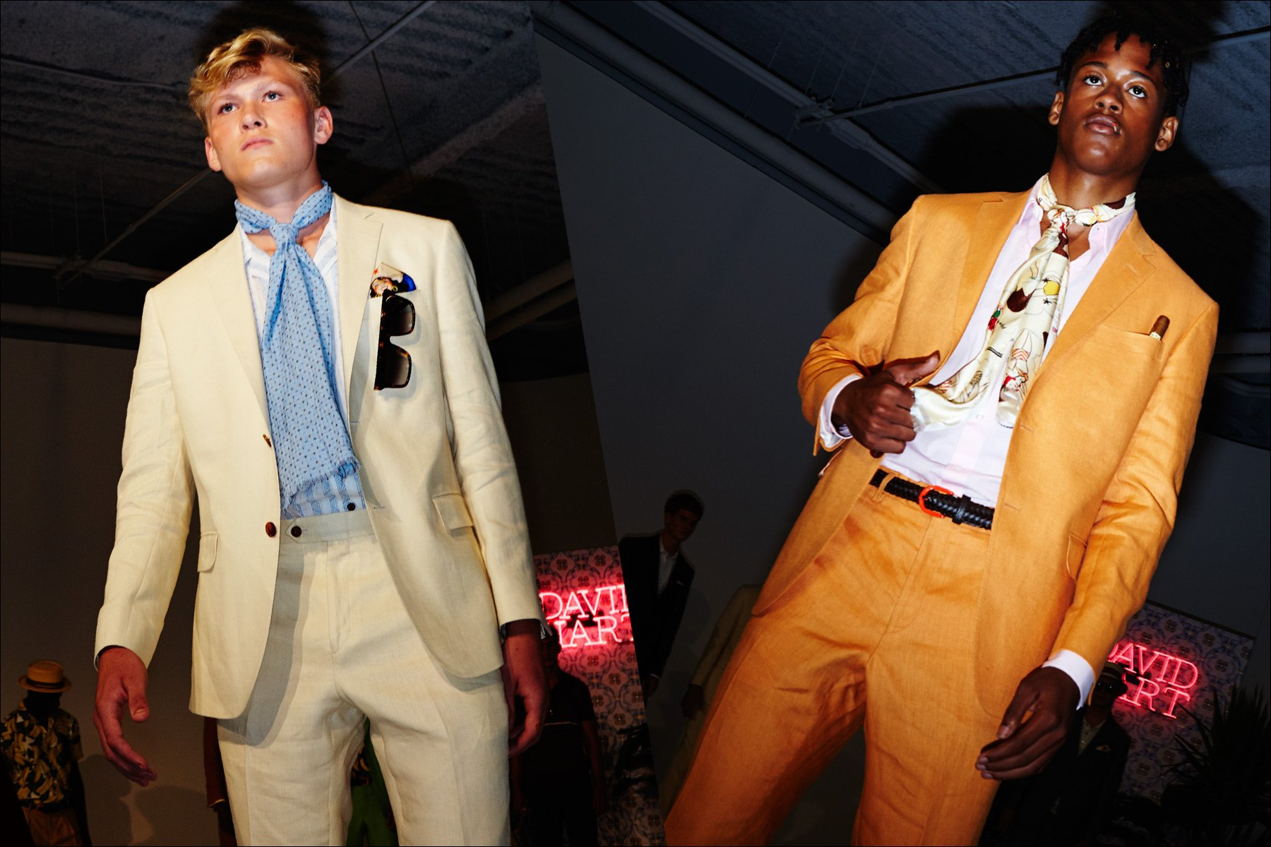Colorful suits at the David Hart Spring 2018 show. Photographed by Alexander Thompson for Ponyboy magazine New York.
