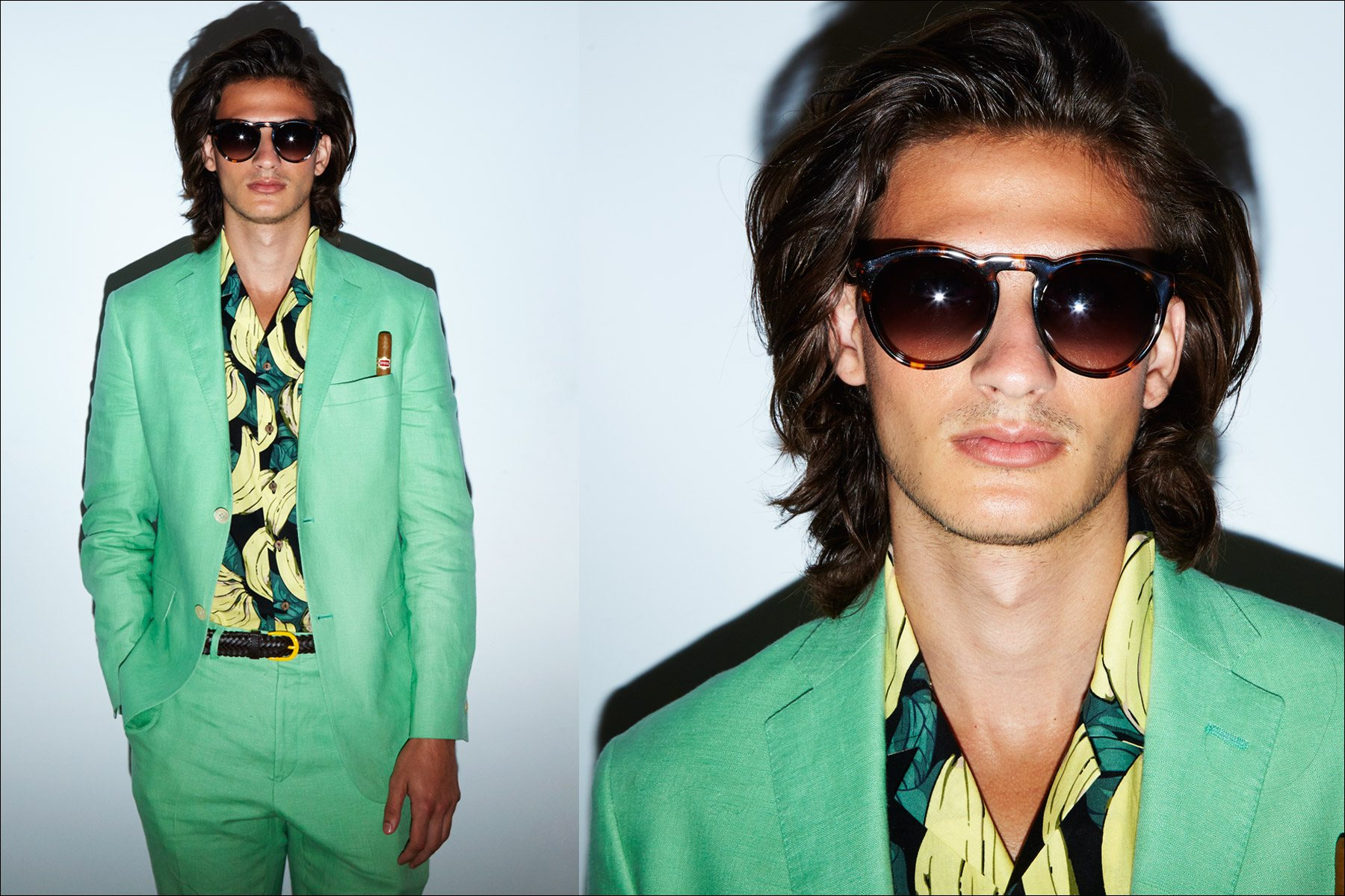 A vivid mint suit on a male model, snapped backstage at David Hart for Spring 2018. Photography by Alexander Thompson for Ponyboy magazine New York.