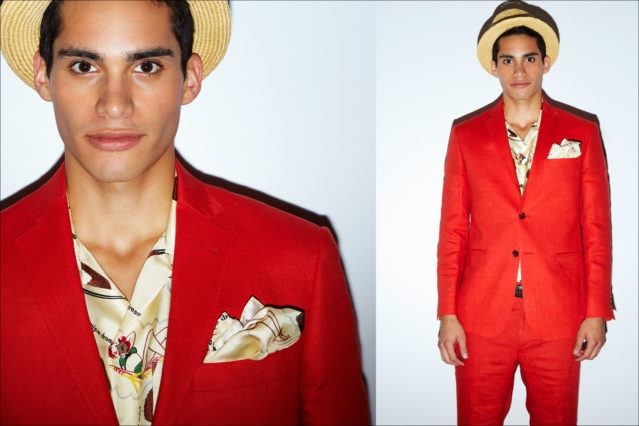 A bright red suit on a male model for Spring 2018, by menswear designer David Hart. Photography by Alexander Thompson for Ponyboy magazine.