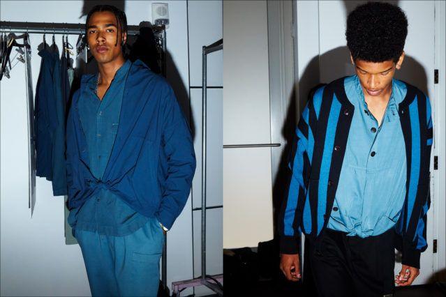 Models dressed in blue, backstage at Gustav Von Ashcenbach Spring 2018 menswear show by designer Robert Geller. Photographed by Alexander Thompson for Ponyboy magazine.