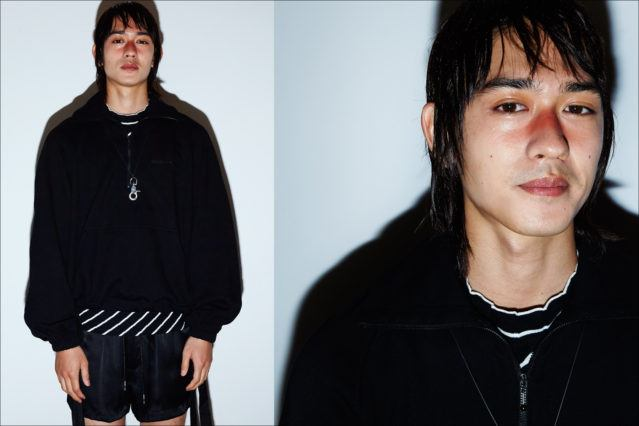 Male model Keisuke Asano photographed backstage at Private Policy Spring/Summer 2018 menswear presentation. Photography by Alexander Thompson for Ponyboy magazine.
