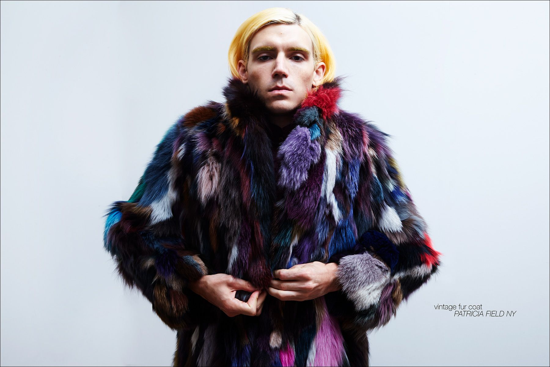 New York City musician Brian Hill photographed in a vintage fur coat. Photography by Alexander Thompson for Ponyboy magazine NY.