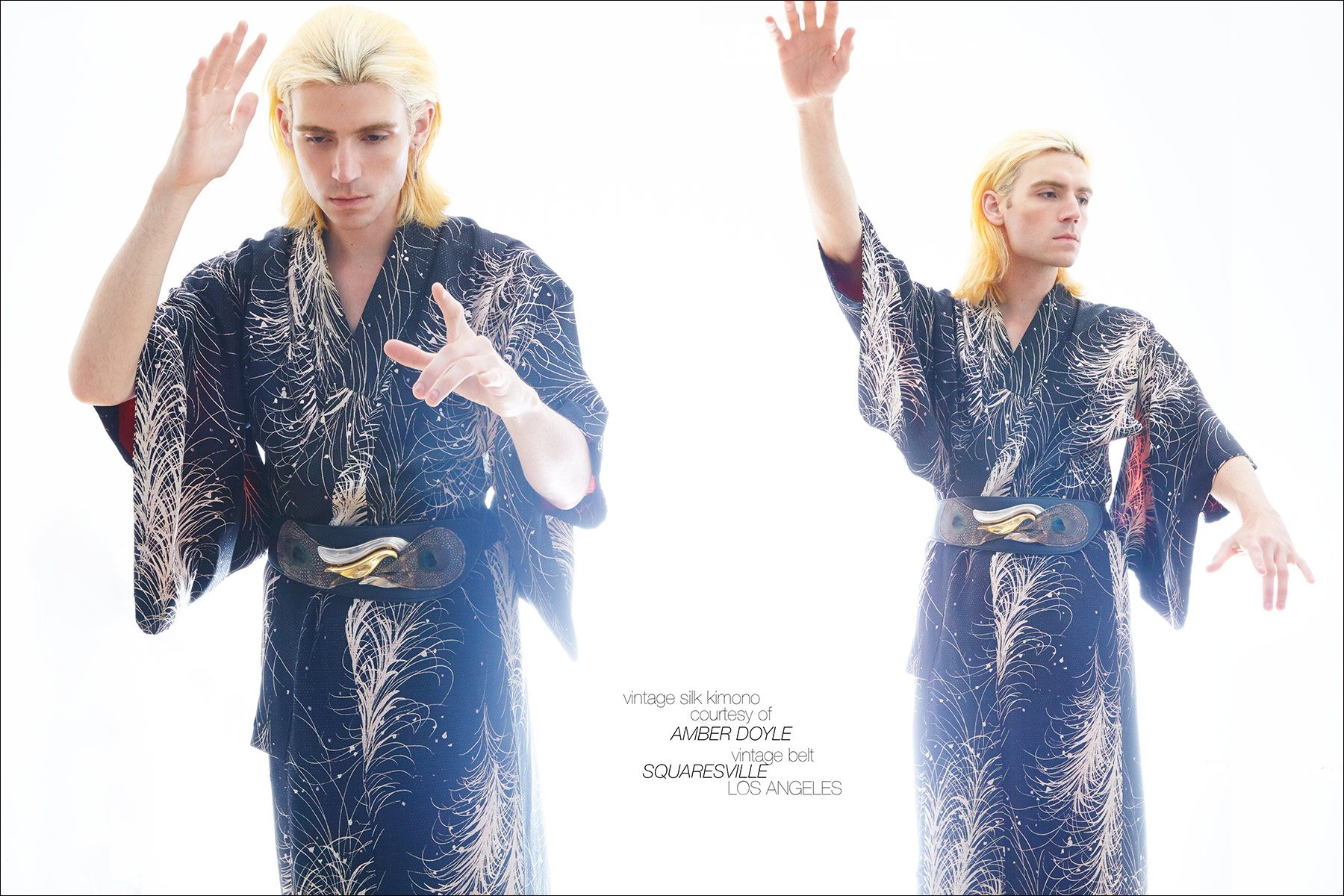 New York City musician Brian Hill photographed in a vintage silk kimono. Photography by Alexander Thompson for Ponyboy magazine NY, with men's grooming by Ahbi Nishman.