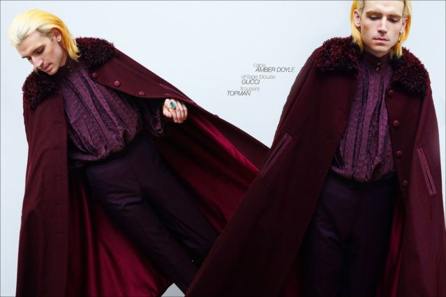 New York City musician Brian Hill photographed in a wool cape by Amber Doyle, vintage YSL blouse and trousers from Topman. Photography by Alexander Thompson for Ponyboy magazine, with men's grooming by Ahbi Nishman.