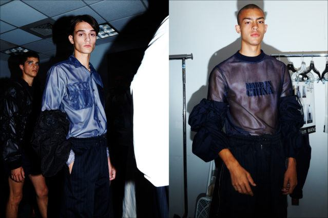 Cutting edge clothing, backstage at Feng Chen Wang menswear. S/S18. Photography by Alexander Thompson for Ponyboy magazine.