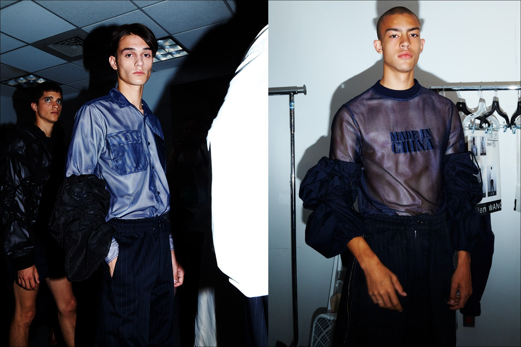 Cutting edge clothing, backstage at Feng Chen Wang menswear. S/S18. Photography by Alexander Thompson for Ponyboy magazine NY.