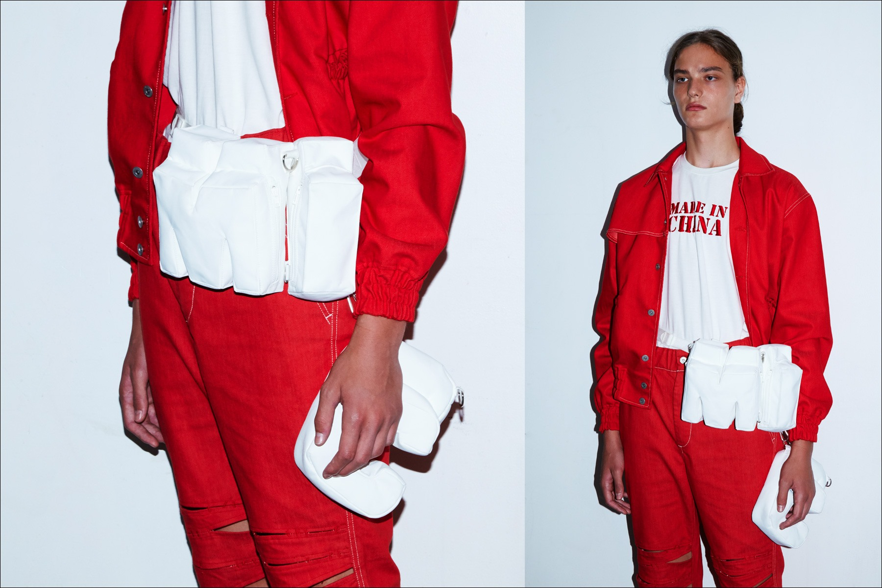 A male model wears a red look backstage at the Feng Chen Wang menswear show, S/S18. Photographs by Alexander Thompson for Ponyboy magazine New York.