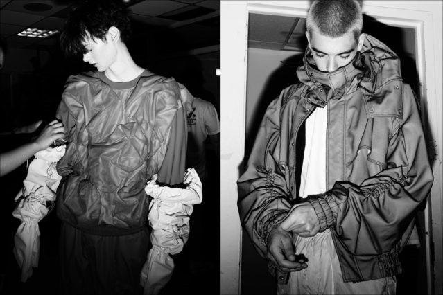 Gathered details on menswear, photographed backstage at the Feng Chen Wang collection. Photography by Alexander Thompson for Ponyboy magazine.