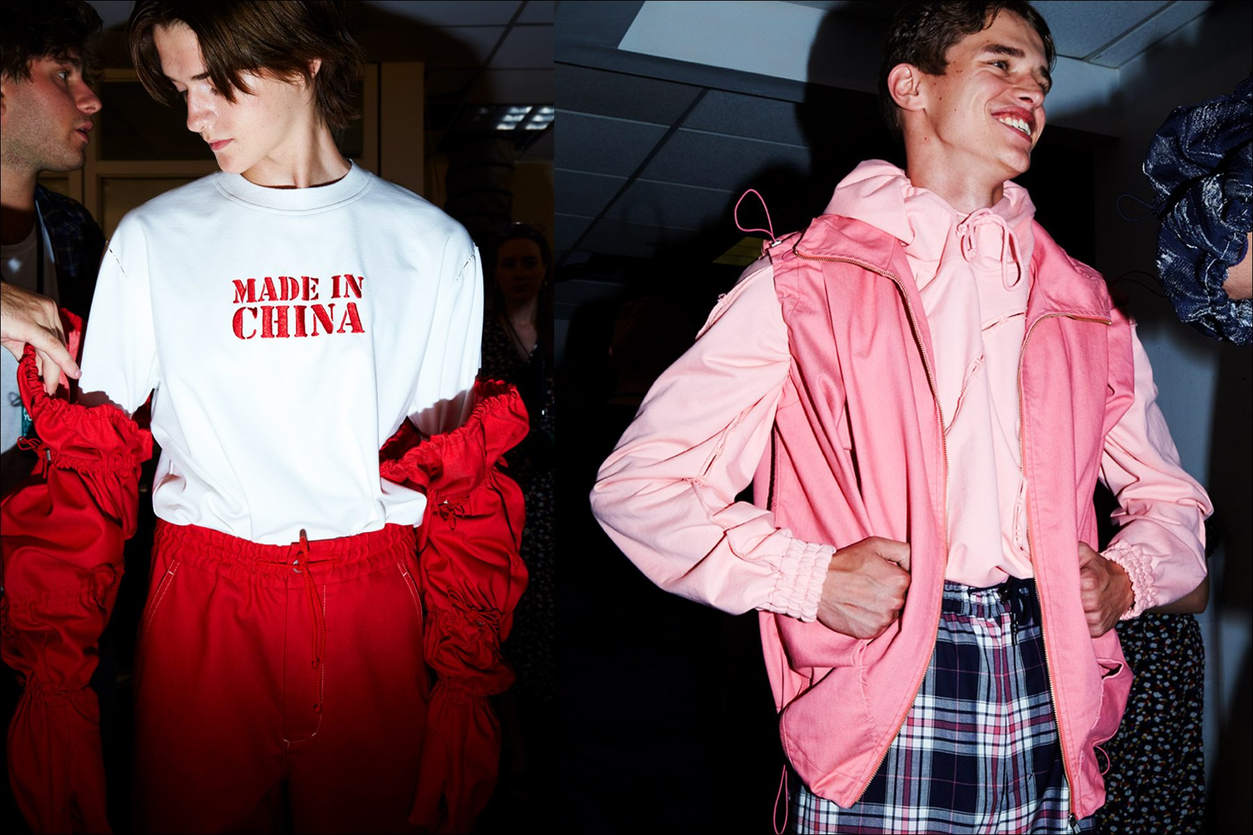 Made In China. Backstage at the Feng Chen Wang menswear show. Photographed by Alexander Thompson for Ponyboy magazine NY.