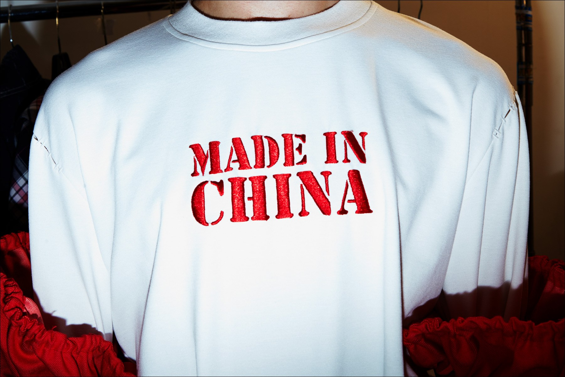 Made In China. Backstage at Feng Chen Wang menswear show. Photographed by Alexander Thompson for Ponyboy magazine NY.