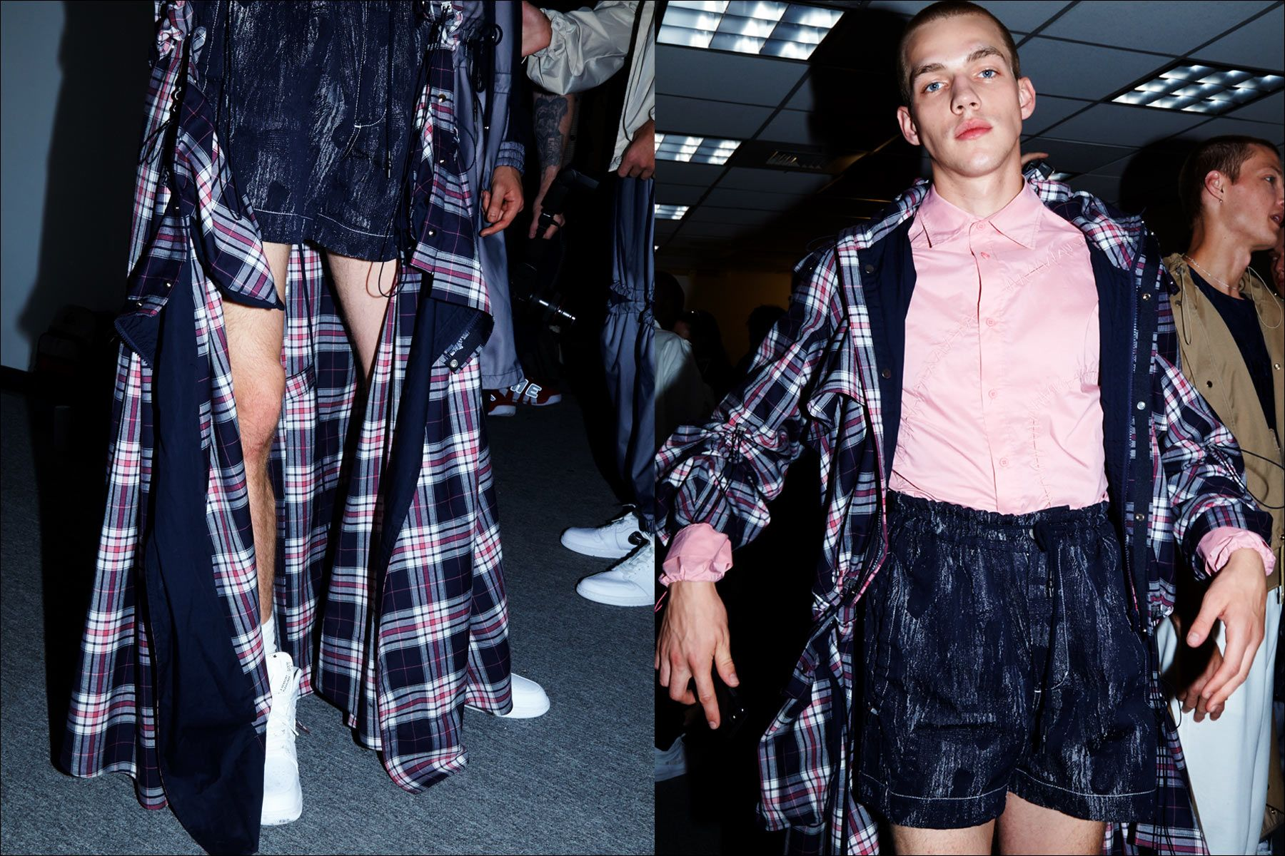 A male model wears a plaid look backstage before the Feng Chen Wang menswear show, S/S18. Photographed by Alexander Thompson for Ponyboy magazine NY.