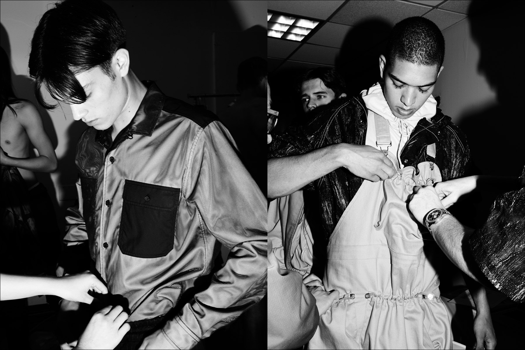 Male models snapped being prepped backstage before the Feng Chen Wang menswear show. Photographed by Alexander Thompson for Ponyboy magazine New York.
