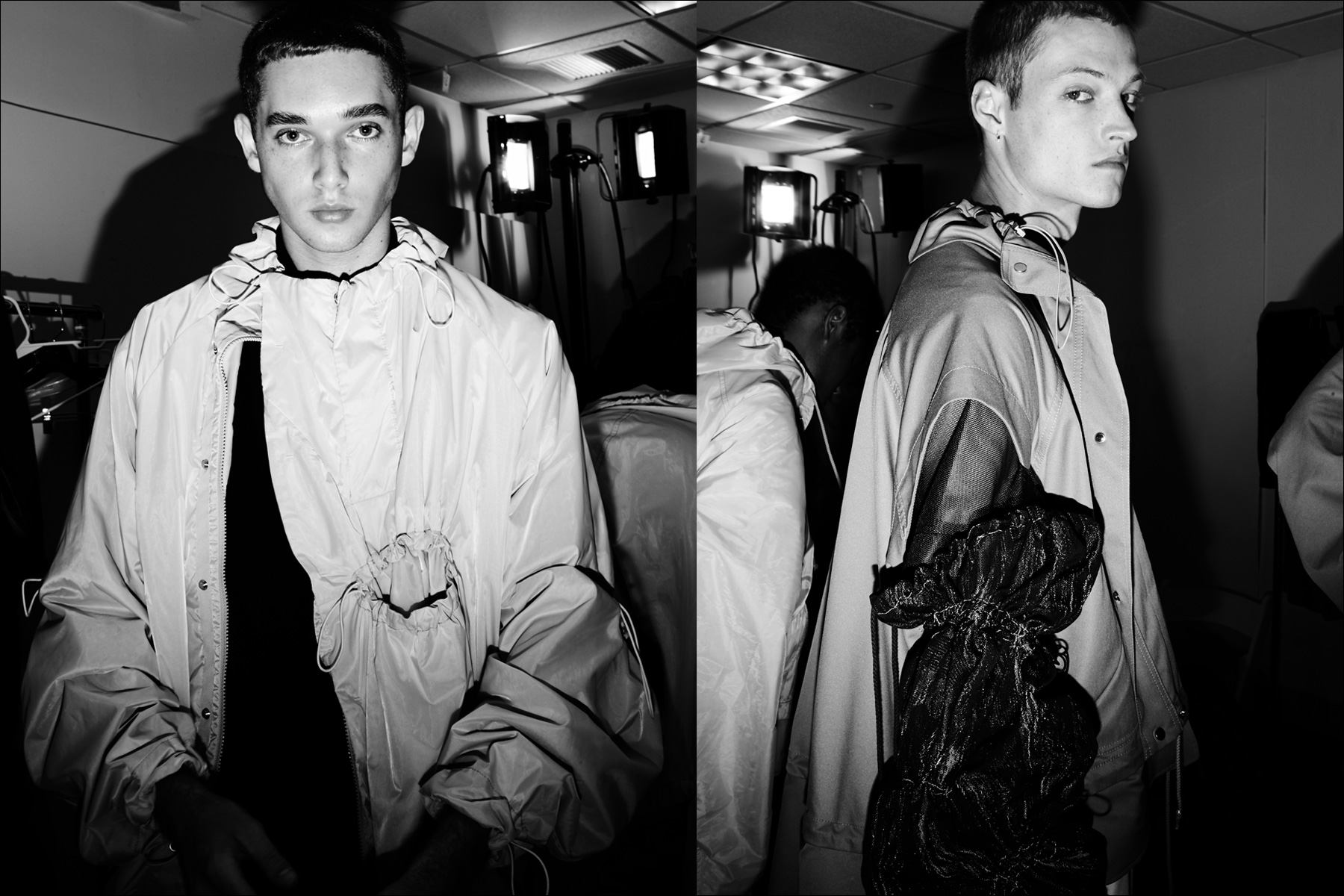 Gathered details on cutting edge menswear, photographed backstage at the Feng Chen Wang collection. Photography by Alexander Thompson for Ponyboy magazine NY.