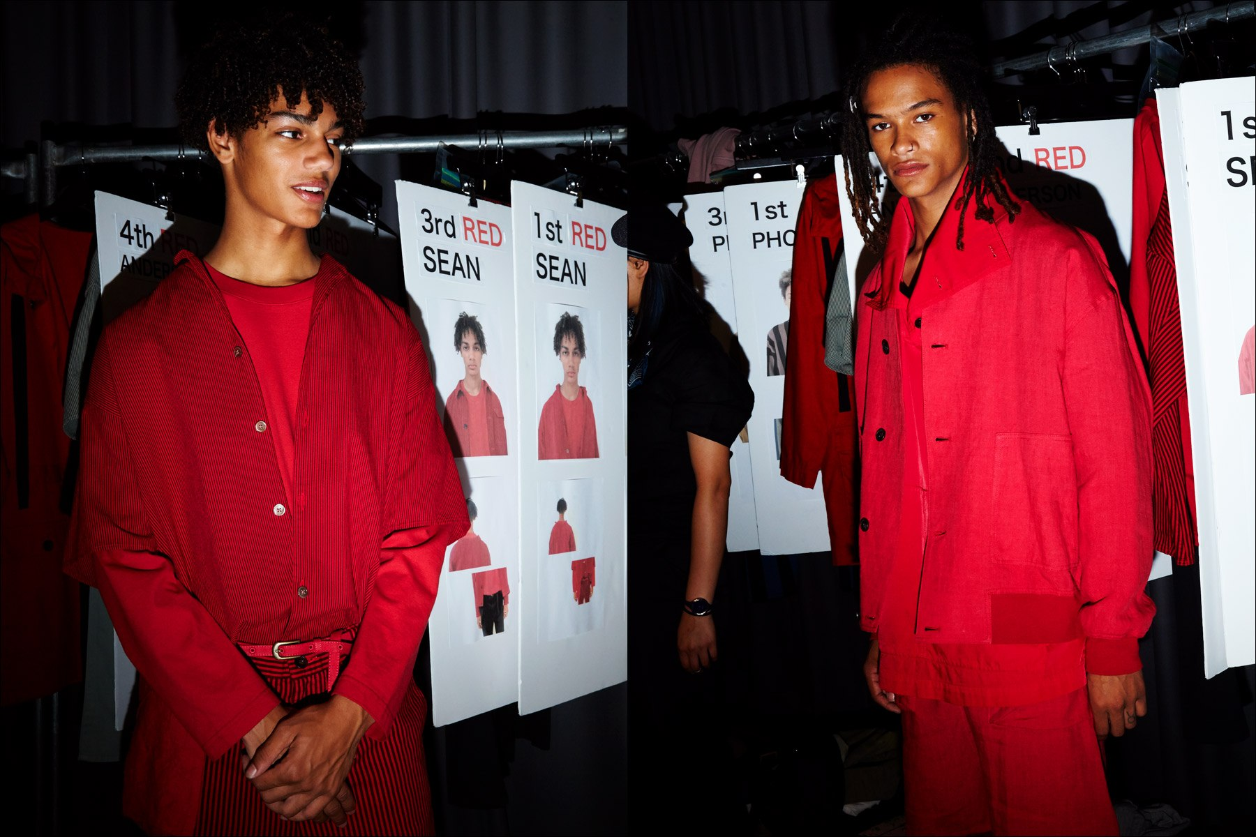 Models dressed in red, backstage at Gustav Von Ashcenbach Spring 2018 menswear show by designer Robert Geller. Photographed by Alexander Thompson for Ponyboy magazine NY.