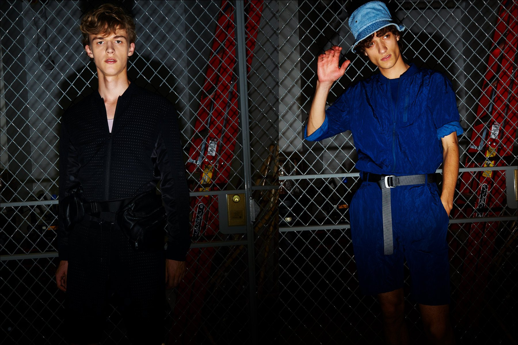 Male models photographed in front of a chain link fence at the Matiere S/S18 menswear show. Photography by Alexander Thompson for Ponyboy magazine NY.