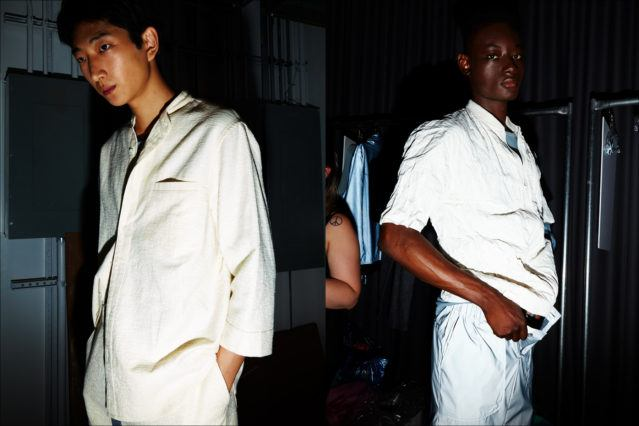 Spring/Summer menswear snapped backstage at Matiere for 2018. Photographed by Alexander Thompson for Ponyboy magazine.
