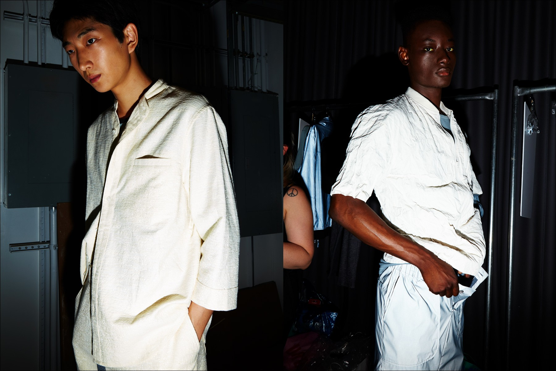 Spring/Summer menswear snapped backstage at Matiere for 2018. Photographed by Alexander Thompson for Ponyboy magazine NY.