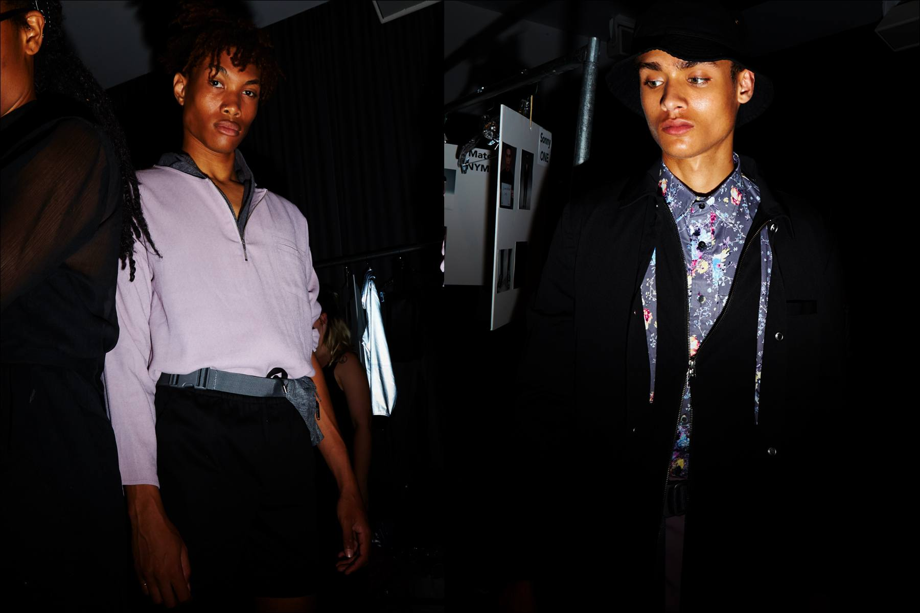 Male models snapped backstage before walking at the Matiere menswear show for Spring/Summer 2018. Photography by Alexander Thompson for Ponyboy magazine New York.