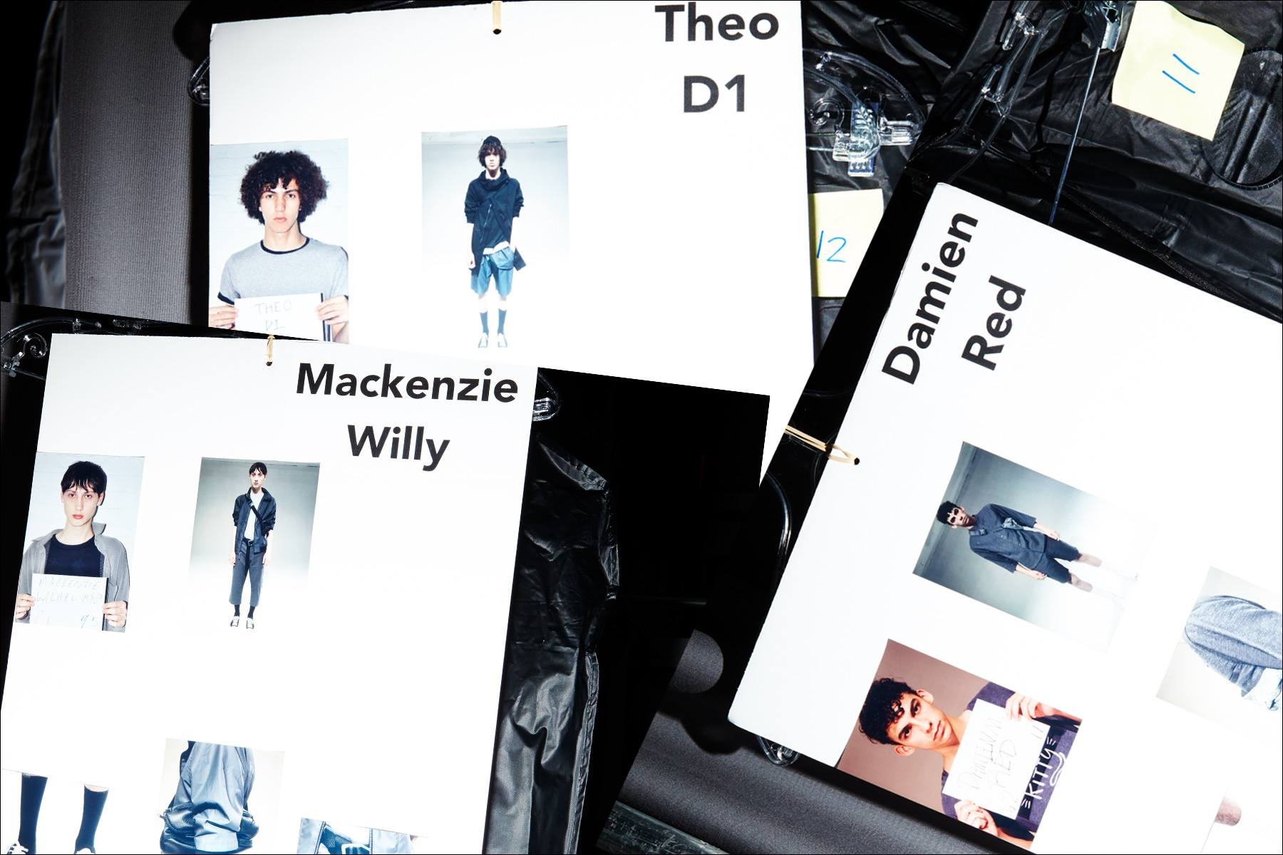 Model's dressing cards snapped backstage at Matiere, Spring/Summer 2018. Photography by Alexander Thompson for Ponyboy magazine NY.