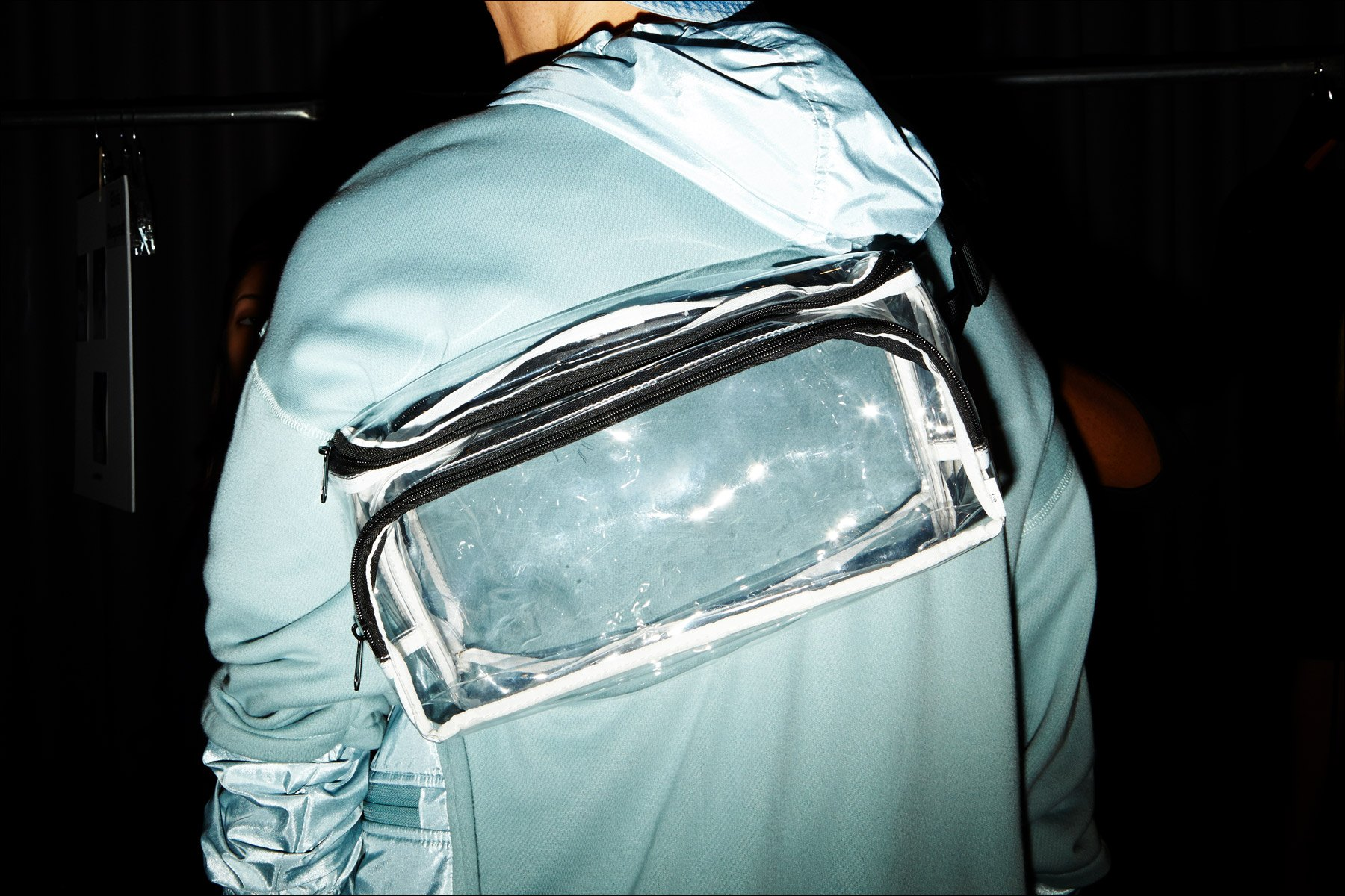 A men's clear bag photographed backstage Matiere for Spring/Summer 2018. Photography by Alexander Thompson for Ponyboy magazine New York.