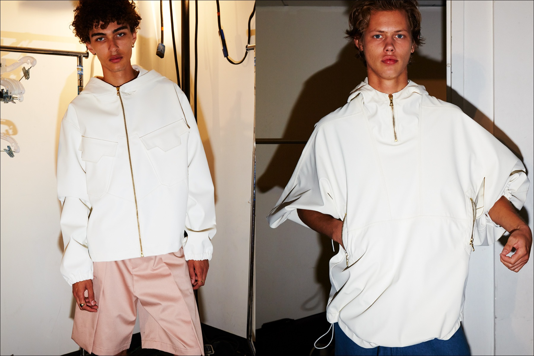 ale models wear white tops backstage at N-p-Elliott Spring/Summer 2018 menswear show. Photographed by Alexander Thompson for Ponyboy magazine NY.