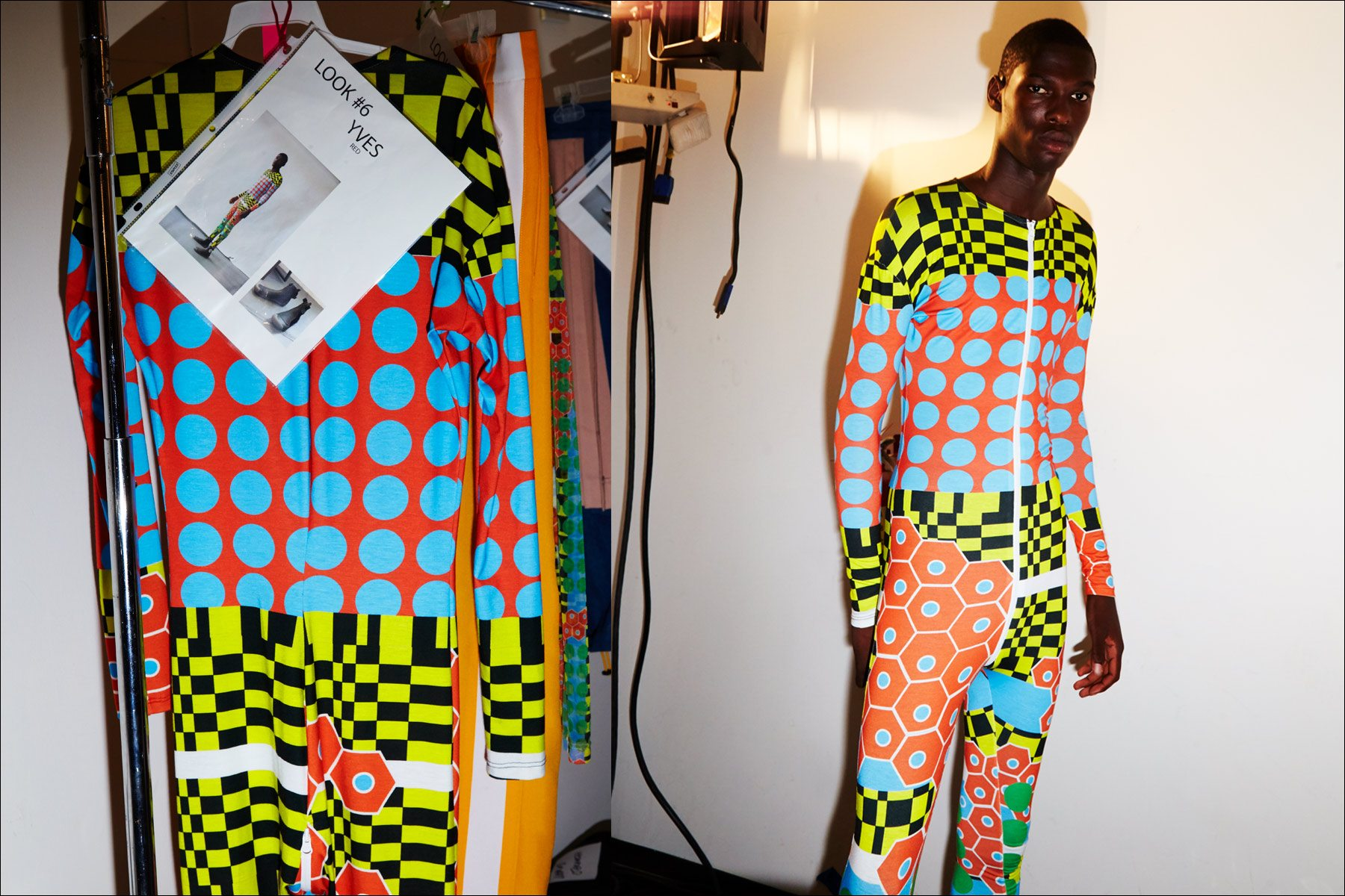 Yves snapped backstage in a bold op art pattern at the N-p-Elliott S/S18 menswear show. Photographed by Alexander Thompson for Ponyboy magazine NY.