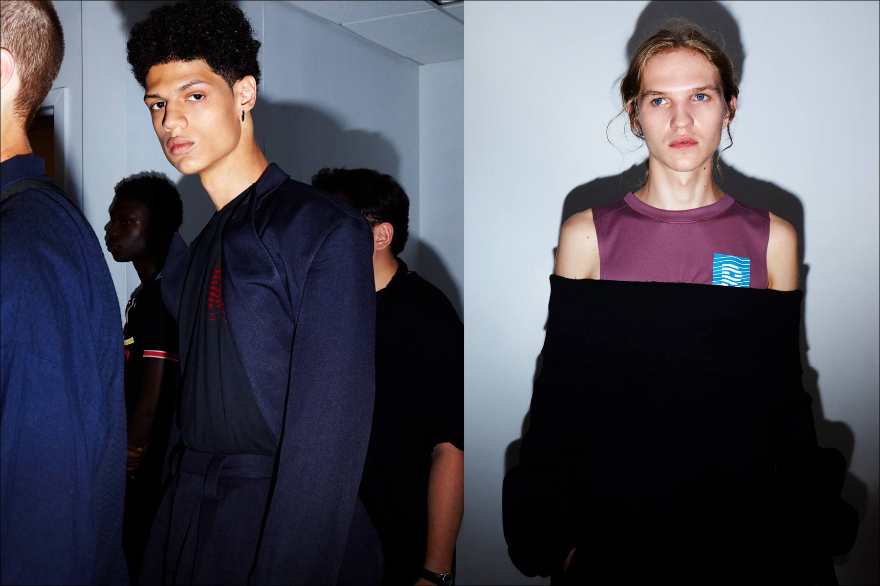Models snapped before walking backstage at the Raun LaRose S/S18 menswear show. Photography by Alexander Thompson for Ponyboy magazine New York.
