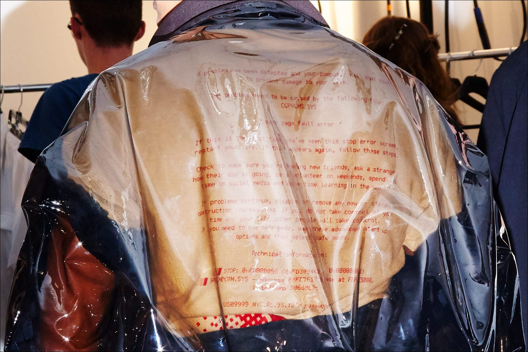 Lettering on the backside of t-shirt, at Raun LaRose for Spring/Summer 2018. Photography by Alexander Thompson for Ponyboy magazine NY.