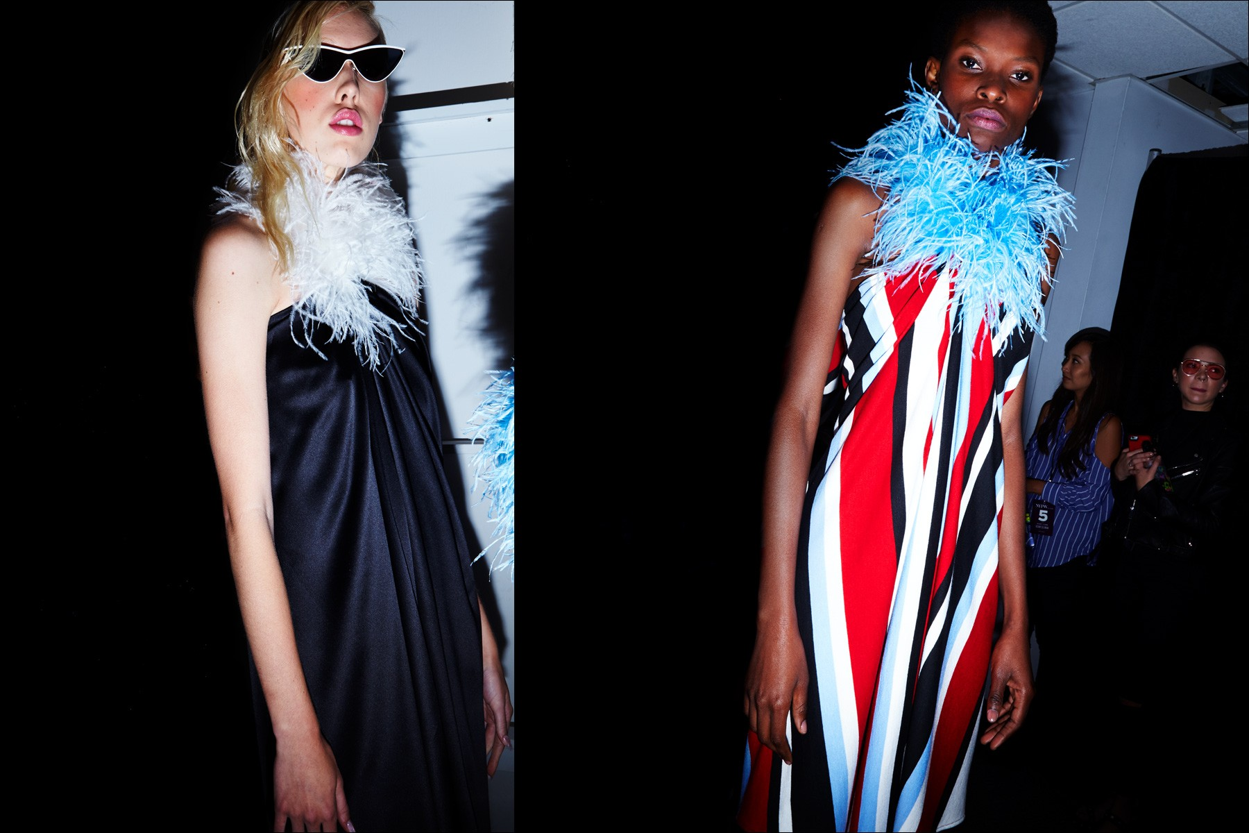 Models Tyg Davison & Barbra-Lee Grant photographed backstage before walking at Adam Selman S/S 2018 womenswear show. Photography by Alexander Thompson for Ponyboy magazine New York.