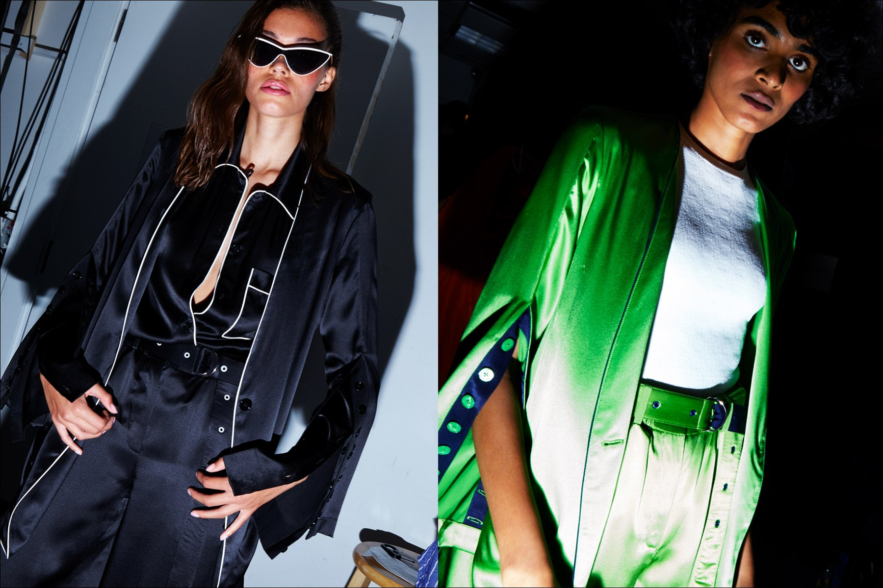 Danielle Lashley & Radhika Nair photographed before walking for Adam Selman S/S18 collection. Photography by Alexander Thompson for Ponyboy magazine NY.