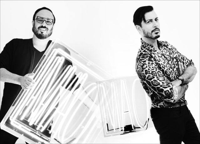 Roger and Mauricio Padilha, MAO PR founders, photographed in their showroom. Photograph by Alexander Thompson for Ponyboy magazine.