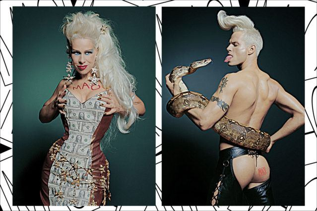MAO PR ads of Dianne Brill and a male model dressed up as John Sex. Ponyboy magazine.