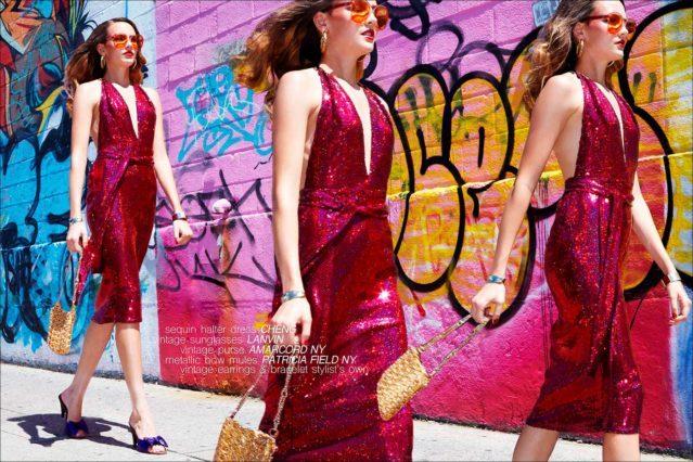 Wilhelmina model Izzy Pawline wears a fushia sequin halter dress by Cheng, for Ponyboy magazine. Photographed by Alexander Thompson.
