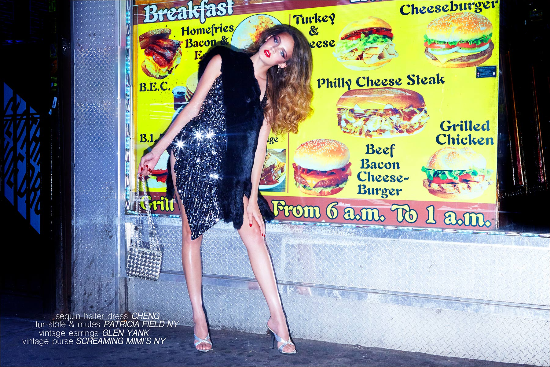 Model Izzy Pawline wears a sequin dress by Cheng, for Ponyboy magazine NY. Photographed by Alexander Thompson.