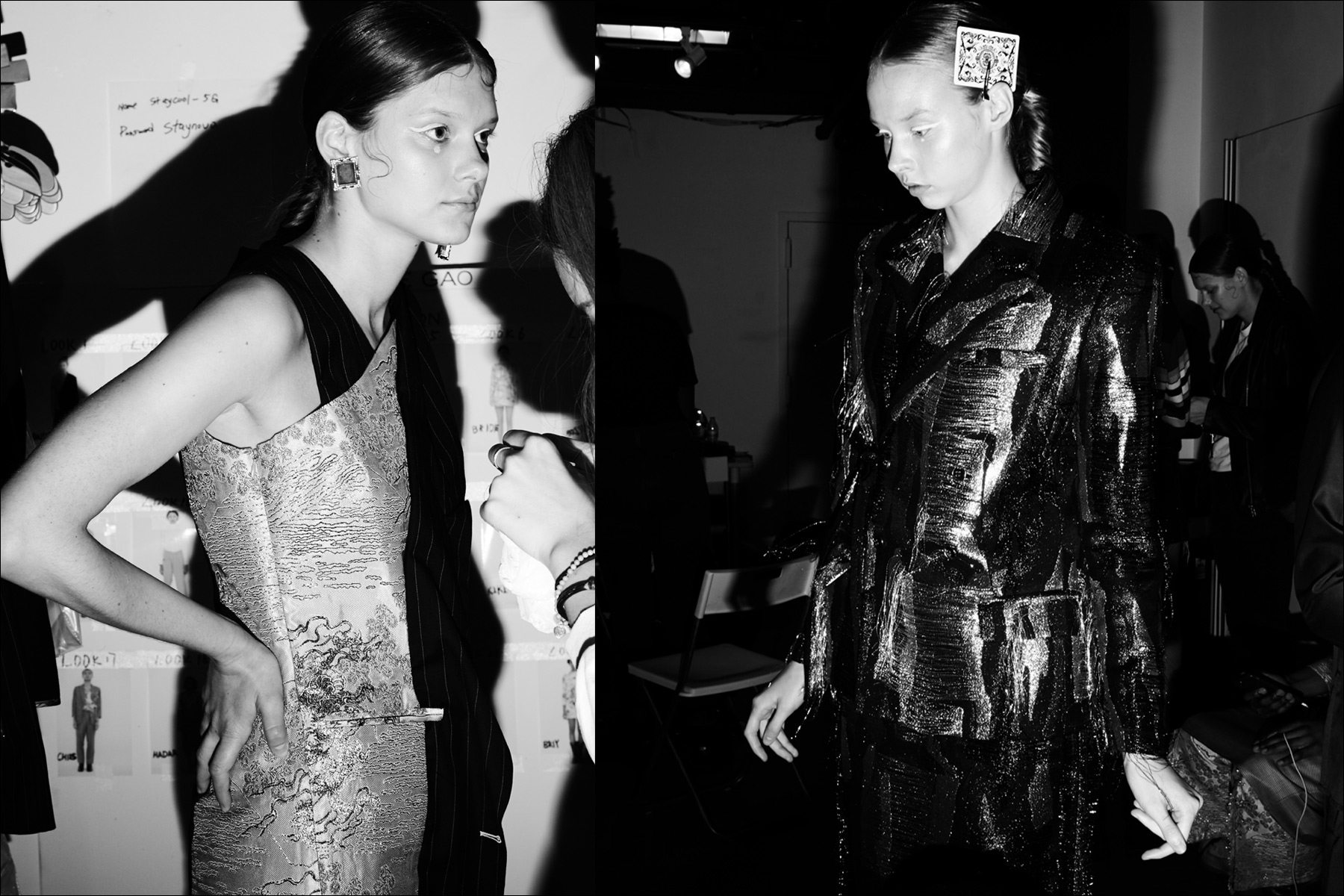Models get prepped backstage before the Snow Xue Gao presentation, for S/S18. Photography by Alexander Thompson for Ponyboy magazine NY.