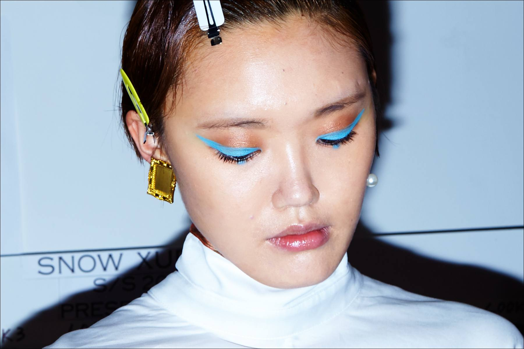A model's makeup, backstage at Snow Xue Gao. Spring/Summer 2018. Ponyboy magazine NY.