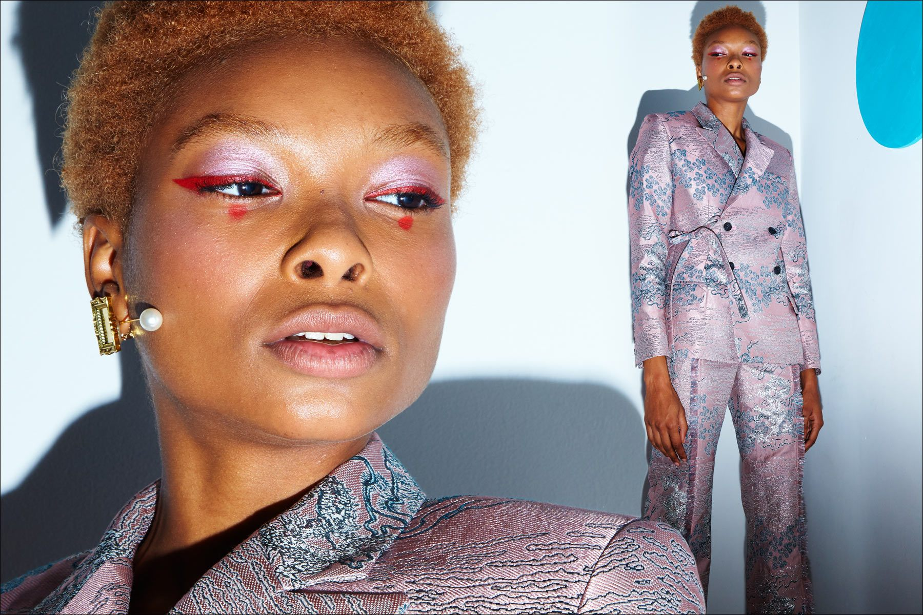 A model wears an avant-garde suit at Snow Xue Gao, for Spring/Summer 2018. Photography by Alexander Thompson for Ponyboy magazine NY.